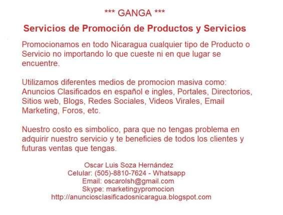 Servicios de promoción de productos y servicios en todo nicaragua